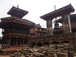 Destroyed temple in Bhaktapur´s Durbar Square
