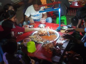 Burmese style fondue in the street