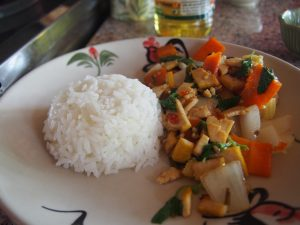 Stir fried hot basil with tofu (Pad Kra Proaw)