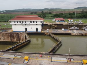 The two lanes of Miraflores Locks