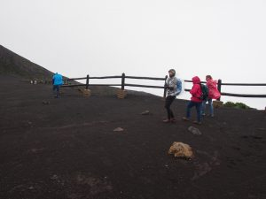 Walking along the main crater in the wind